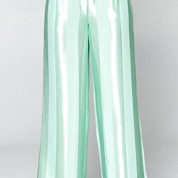 Featured Attraction Satin Vertical Stripe Pattern Wide Leg Loose Palazzo Pants - 3 Colors Available