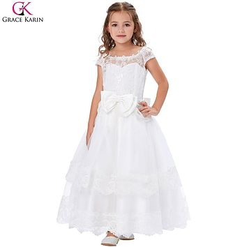 Grace Karin Flower Girl Dresses Lace Prom Evening Party Elegant First Communion Gowns Princess Long Pageant Dresses For Kids Bow