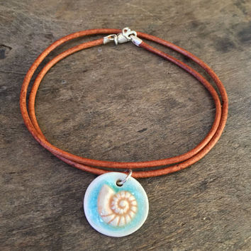 "Summer Sea Shell Pendant, Knotted Leather Necklace ""Beach Chic"" by Two Silver Sisters"