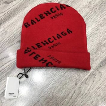 Balenciaga Fashion Casual Letter Women/Men Winter Knit Hat