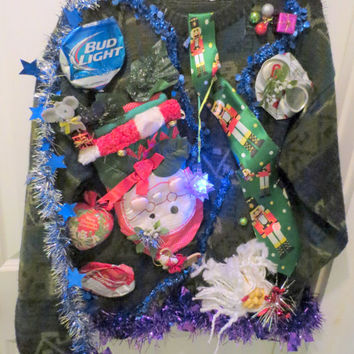Drunken Hilarity Fun Adult Ugly Christmas Sweater with Beer Cans, Drunken Santa Singing Tie Light up Disco Ball Tie tac Men's sz  L