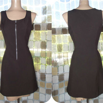 Vintage 90s BIG Zipper Front Grunge Mini Dress Mod Retro 60s Babydoll A-line Brown Small/ 3/ S