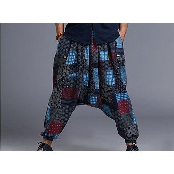 New Arrival Summer Fluid Big Crotch Pants male Travel Harem Pants Comfortable Cotton Linen Bloomers Indian Baggy Pants MP08