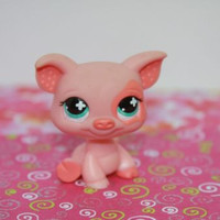 Littlest Pet Shop LPS Pink Pig #622 Green Eyes Patch on Eye