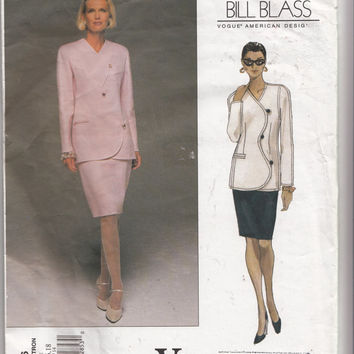 Easy to Sew Womens Bill Blass Skirt Suit Bust 36 38 40 Vogue American Designer Sewing Pattern 1706 Scallop Front Slim Tapered Skirt UNCUT