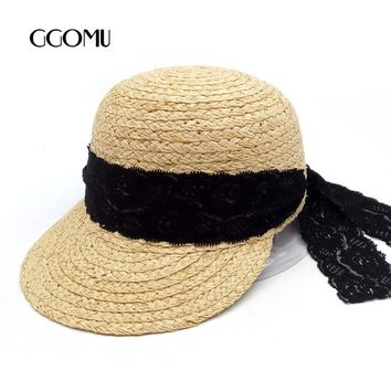 GGOMU New sale Summer Raffia Lace straw hat for women breathable baseball Cap Equestrian cap Ladies beach sunshade hat ZLH-128