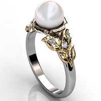 14k three tone white, rose and yellow gold South Sea pearl diamond unique floral engagement ring, bridal ring, wedding ring ER-1067-6