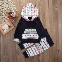 Baby Girls Clothes Newborn Infant Bebek Hooded Sweatshirt Tops+Pants 2pcs Outfits Tracksuit Kids Clothing Set