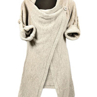 Beige One-button Wrap Cardigan