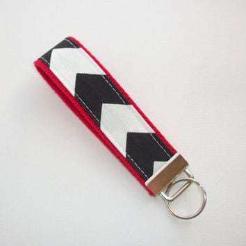 Chevron Key FOB / KeyChain / Wristlet - black and white on red - Zig Zag zigzag