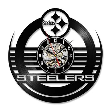 Antique Hollow Style Round CD Record Clock NFL PITTSBURGH STEELERS Vinyl Wall Clock Creative Personalised LED Wall Clock