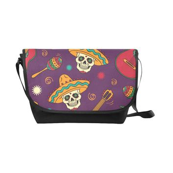 Mexican Skulls Black Nylon Cross Body Bag