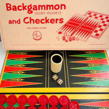 Vintage Backgammon and Checkers Game in Original Box from 1964 Selchow and Righter Makers of Parcheesi