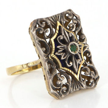 Vintage 18k Gold Silver Emerald Enamel Cocktail Ring Estate Fine Jewelry Italy