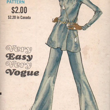 Vogue 7870 Sewing Pattern 70s Retro Disco Style Tunic Fit Flared Wide Leg Pants Foldover Waist Dart Fitted Bell Bottoms Bust 32
