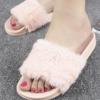 New Women Pink Round Toe Faux Fur Patchwork Casual Slippers
