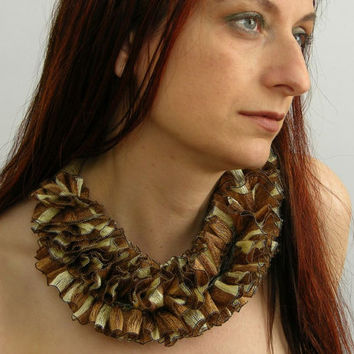Bib necklace scarf necklace skinny scarf scarflette textile necklace ecru brown coffee ochre repurposed curationnation therougett
