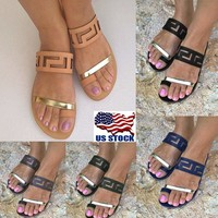 US Womens Summer Flat Slip On Flip Flops Sandals Thong Slippers Beach Shoes