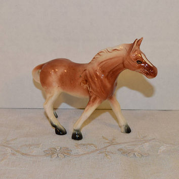 Ceramic Japan Horse Figurine Vintage Porcelain Brown Tan Pony Figurine Collectible Equestrian Horse Lover Gift Horse Collector Western Decor