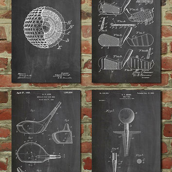 Golf Patent Posters Group of 4, Golf Gifts for Men, Golf Decor, Office Decor, Golf Club, Golf Ball, PP1184