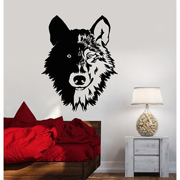 Vinyl Wall Decal Forest Beast Animal Lone Wolf Head Stickers (3290ig)