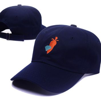 Casual Navy Blue Diamond & Carrots Embroidered Unisex Adjustable Cotton Sports Cap Hat