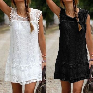 Short Summer Lace Dress with Tassels