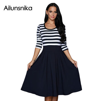 Ailunsnika 2017 Women Spring Black White Stripe Scoop Neck 3/4 Sleeve Workwear A Line Skater Swing Dress DL61447