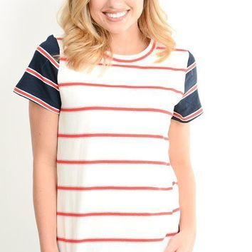 Nautical Striped Contrast SS Tee