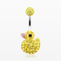 Cute Rubber Duck Multi-Gem Sparkle Belly Button Ring