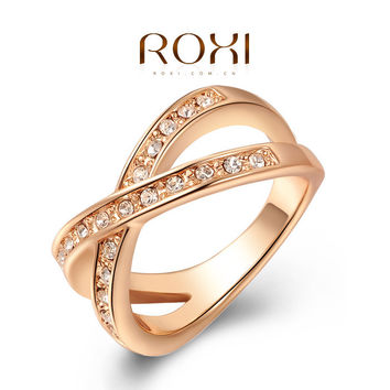 ROXI Latest Style Austrian Crystal  Rose Gold Wedding Rings For Women Love Engagement Gold Ring Girl Costume Jewelry