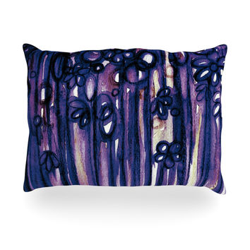 "Ebi Emporium ""Winter Garden in Violet"" Purple Oblong Pillow"