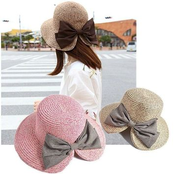 Women's Foldable Floppy Straw Roll up Wide Brim Bowknot Hat Sun Cap Beach Visor