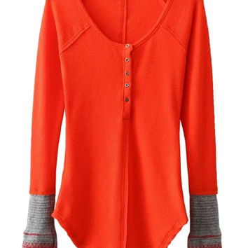 Red Button Up Contrast Ribbed Cuff Long Sleeve T-shirt
