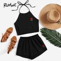 ROMWE Womens Two Piece Sets 2018 Summer Ladies Two Way Sleeveless Rose Embroidered Tie Back Halter Top And Shorts