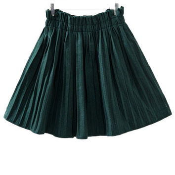 Green High Waist Pleated Skirt