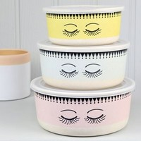 Set Of Three Pastel Food Storage Containers