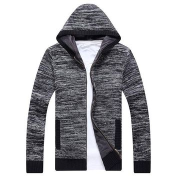 Mens Fashion Hooded Long-Sleeved Knit Sweater Cardigan