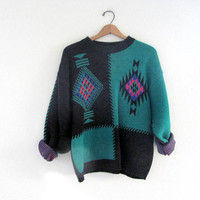 STOREWIDE SALE .. Vintage 80s abstract southwestern gray and green sweater // slouchy sweater / size M