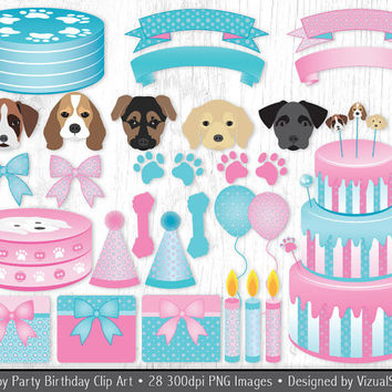 Cute Puppy Birthday Clip Art Digital Puppy Party Clipart, Digital Pet Dog Birthday Party Polkadot Pink and Blue Banners, Cakes, Paw Prints