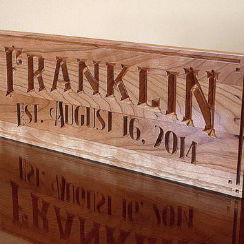 5th Anniversary Sign, Carved Wooden Sign,  Benchmark Custom Signs Cherry KN