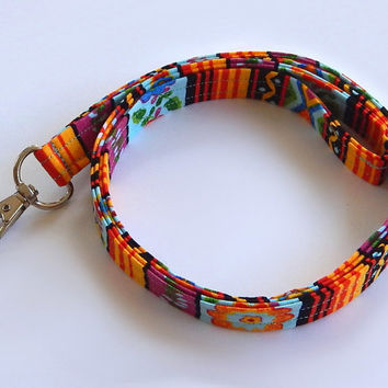 Southwest Lanyard / Floral Southwest / Colorful Keychain / Southwestern Print / Key Lanyard / ID Badge Holder / Fabric Lanyard