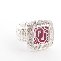 Oklahoma Sooners OU Clear Crystals Square Fashion Stretch Ring