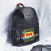GUCCI New fashion letter print leather couple backpack bag Black