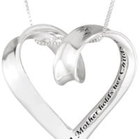 "Sterling Silver ""A Mother Holds Her Childs Hand"" Heart Pendant Necklace, 18"""