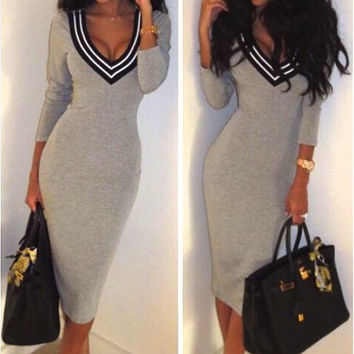 DEEP V NECK BODYCON MIDI DRESS