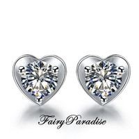 Heart Shape Earrings with total 1 ct ( each 0.5 ct ) round man made diamond in 925 sterling silver, Studs, Valentines day, FairyParadise