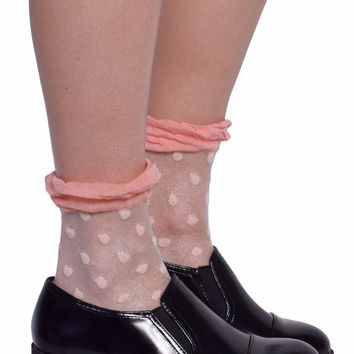 Polka Dot  Mesh Socks - Pink