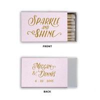 Sparkle and Shine Matchboxes Wedding Favors Foil Stamped Matches Personalized Rehearsal Dinner Bridal Shower Custom Matchbox Colors