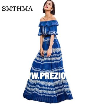 Bohemian Print Long Dresses Vestidos De Festa Robe Off Shoulder Clothing 2017 Summer Womens Dress  Sexy Elegant Long Dress